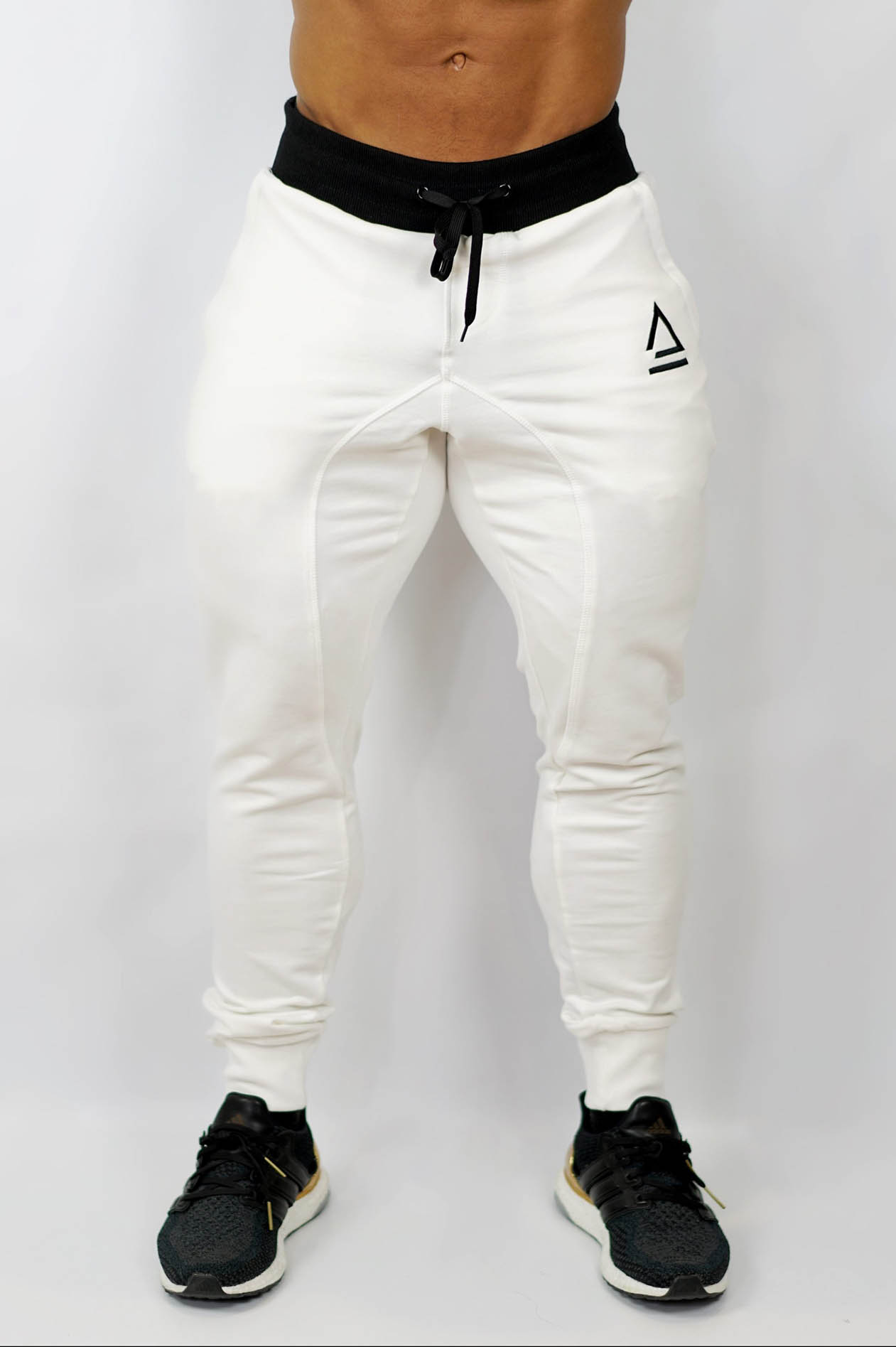 white joggers front