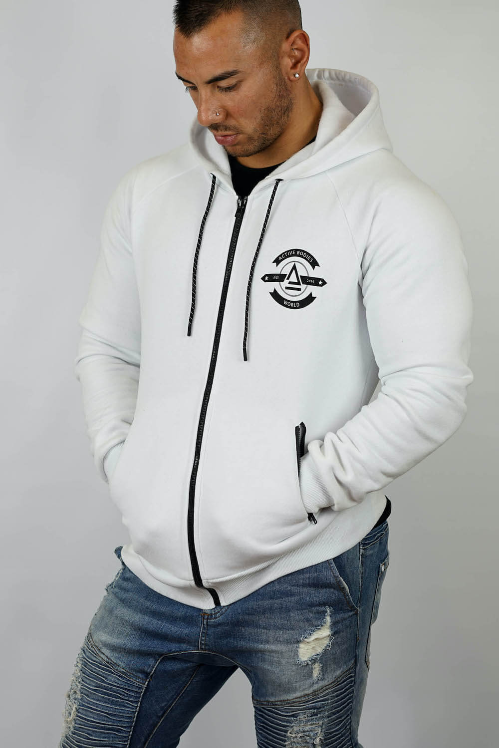 white zip up goodie side